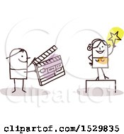 Clipart Of A Stick Man Movie Director Holding A Clapper Board By An Actress Royalty Free Vector Illustration