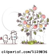 Clipart Of A Stick Man Father And Son By A Fruiting Tree Royalty Free Vector Illustration