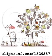 Clipart Of A Stick Man And Dog By An Autumn Tree Royalty Free Vector Illustration