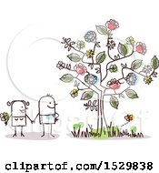 Clipart Of A Stick Man Couple By A Flowering Tree Royalty Free Vector Illustration