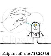 Poster, Art Print Of Hand Insterting A Chip In A Stick Mans Brain