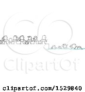 Clipart Of A Group Of Stick People Refugees Fleeing And Swimming Royalty Free Vector Illustration