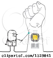 Clipart Of A Stick Man Scientist Discussing A Chip In A Hand Royalty Free Vector Illustration