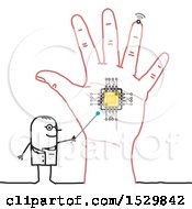 Poster, Art Print Of Stick Man Scientist Discussing A Chip In A Hand