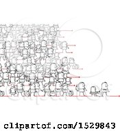 Clipart Of A Crowd Of Stick People Refugees Migrating Royalty Free Vector Illustration