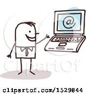 Poster, Art Print Of Stick Business Man By A Laptop Computer