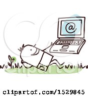 Clipart Of A Stick Man Using A Laptop Outdoors Royalty Free Vector Illustration