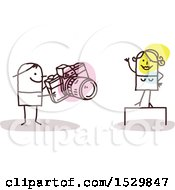 Clipart Of A Stick Man Photographer Taking Pictures Of A Model Royalty Free Vector Illustration