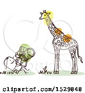 Stick Man Photographer Taking Pictures Of A Giraffe