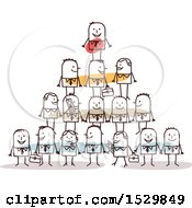 Clipart Of A Stick Man Boss On Top Of A Pyramid Of Employees Royalty Free Vector Illustration