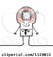Clipart Of A Stick Man With A Computer Chip In His Brain Royalty Free Vector Illustration