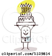 Clipart Of A Stick Man Holding Up A Birthday Cake Royalty Free Vector Illustration