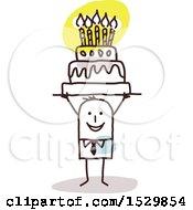 Poster, Art Print Of Stick Man Holding Up A Birthday Cake