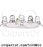 Clipart Of A Group Of Stick Business Men Around A Conference Table Royalty Free Vector Illustration