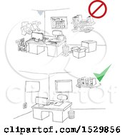 Clipart Of A Dirty Office And A Scene With A Clean Office Royalty Free Vector Illustration