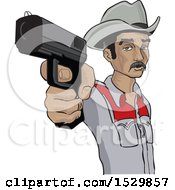 Clipart Of A Hispanic Man Aiming A Gun Royalty Free Vector Illustration