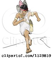 Clipart Of A Woman Aztec Running Royalty Free Vector Illustration