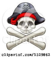 Clipart Of A Pirate Skull And Cross Bones Jolly Roger Royalty Free Vector Illustration