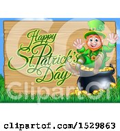 Clipart Of A Happy St Patricks Day Greeting On A Wood Sign By A Leprechaun Sitting On A Pot Of Gold Royalty Free Vector Illustration
