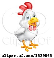 Cute Happy White Chicken Or Rooster