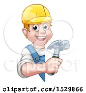 White Male Carpenter Holding A Hammer Around A Sign