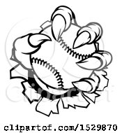 Clipart Of A Black And White Monster Claw Holding A Baseball And Ripping Through A Wall Royalty Free Vector Illustration