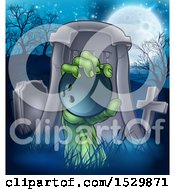 Clipart Of A Rising Zombie Hand Holding A Bowling Ball In A Cemetery Royalty Free Vector Illustration by AtStockIllustration