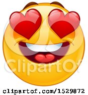 Clipart Of A Yellow Emoticon Smiley With Bugging Heart Eyes Royalty Free Vector Illustration