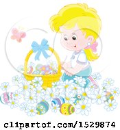 Happy Blond Girl Kneeling In Daisy Flowers By An Easter Basket