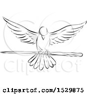 Clipart Of A Sketched Dove Flying With A Wooden Staff Royalty Free Vector Illustration