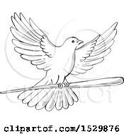 Clipart Of A Sketched Flying Dove With A Wand Or Wooden Staff Royalty Free Vector Illustration
