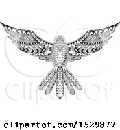 Clipart Of A Tattoo Styled Flying Dove Royalty Free Vector Illustration by patrimonio