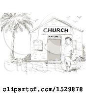 Clipart Of A Sketched Cartoon Samoan Boy Standing By A Church Royalty Free Vector Illustration