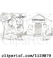 Clipart Of A Sketched Cartoon Samoan Preacher And Minister Protesting By A Boy In Front Of A Church Royalty Free Vector Illustration