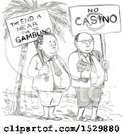 Sketched Cartoon Samoan Preacher And Lay Minister Protesting Against Gambling