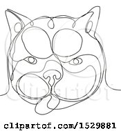 French Bulldog Face Black And White Continuous Line Drawing Style
