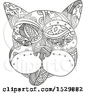 Clipart Of A French Bulldog Face In Black And White Adult Coloring Page Style Royalty Free Vector Illustration