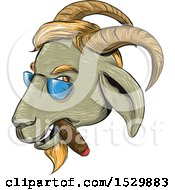 Clipart Of A Sketched Hipster Goat Smoking A Cigar And Wearing Shades Royalty Free Vector Illustration