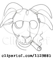 Clipart Of A Sketched Lineart Hipster Goat Smoking A Cigar And Wearing Shades Royalty Free Vector Illustration