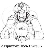 Poster, Art Print Of Fortune Teller With A Crystal Ball Black And White Sketch Style