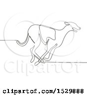 Racing Greyhound Dog Black And White Continuous Line Drawing Style