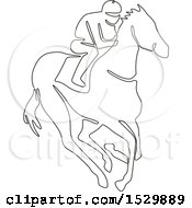 Clipart Of A Jockey Racing A Horse Black And White Continuous Line Drawing Style Royalty Free Vector Illustration