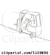 Clipart Of A Worker Operating A Forklift Black And White Continuous Line Drawing Style Royalty Free Vector Illustration by patrimonio