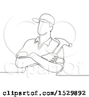 Construction Worker With A Hammer In Folded Arms Black And White Continuous Line Drawing Style