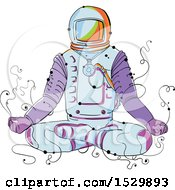 Clipart Of A Sketched Astronaut Sitting In Lotus Pose Royalty Free Vector Illustration by patrimonio