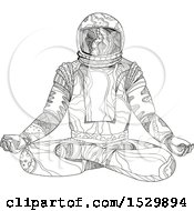 Clipart Of A Sketched Black And White Astronaut Sitting In Lotus Pose Royalty Free Vector Illustration by patrimonio