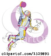 Poster, Art Print Of Sketched Astronaut Jumping And Dunking A Basketball