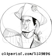 Clipart Of A Black And White American Patriot In An Oval Royalty Free Vector Illustration