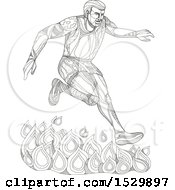 Poster, Art Print Of Doodle Styled Man Leaping Over Fire In An Obstacle Course