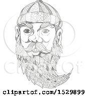 Clipart Of A Sketched Face Of Paul Bunyan Royalty Free Vector Illustration